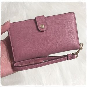 NEW! COACH Phone Case Leather Wristlet Wallet Pink